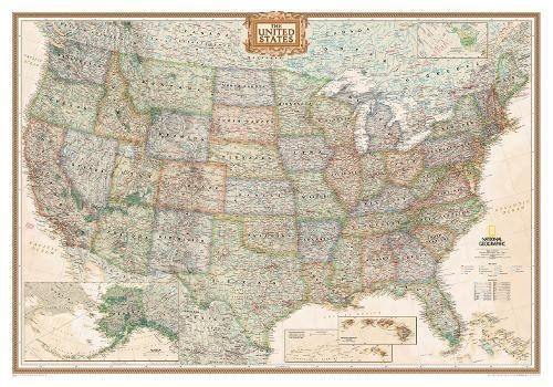 United States Executive Wall Map - Laminated (43.5 x 30.5 inches) (National Geographic Reference Map) ()
