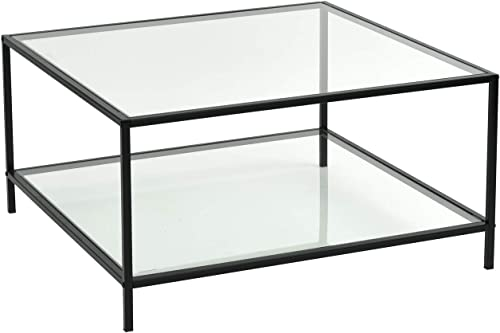 FurnitureR Modern Lux Glass Coffee Table Tempered Glass Top Metal Frame Occasional Living Room Table with Storage Shelf