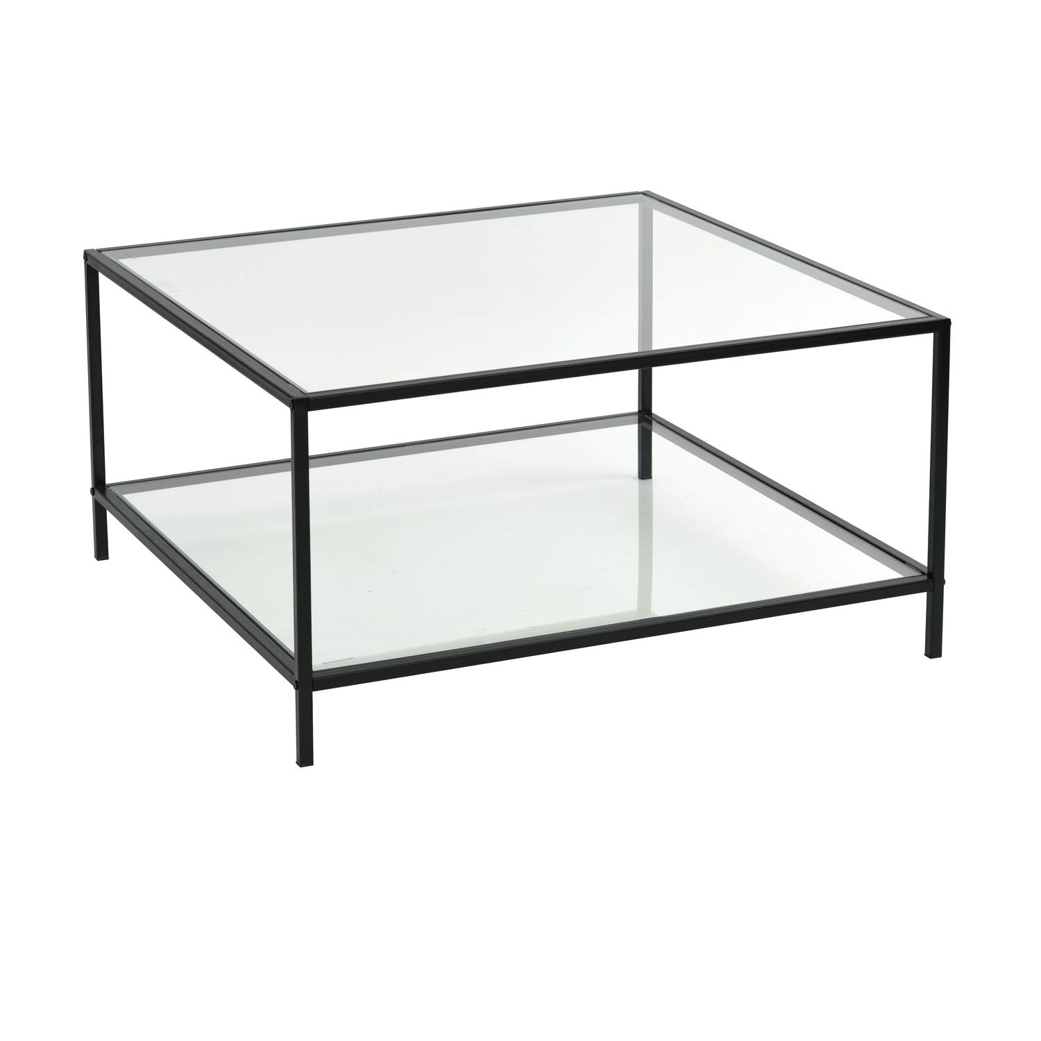 Fine Furniturer Modern Lux Glass Coffee Table Tempered Glass Top Metal Frame Occasional Living Room Table With Storage Shelf Machost Co Dining Chair Design Ideas Machostcouk