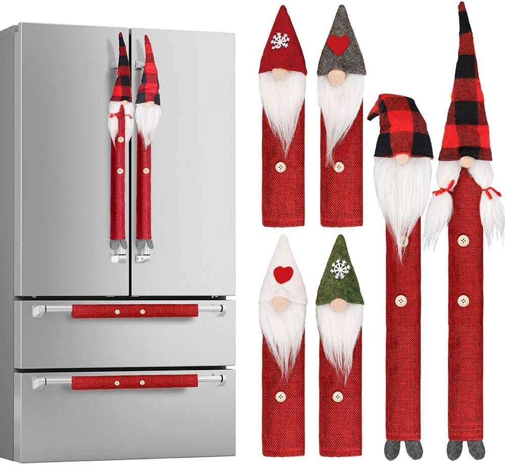 Christmas Ornaments Handle Covers, 8Pcs Appliance Handle Covers for Christmas Kitchen Christmas Holiday Decor Microwave Oven Dishwasher Fridge Door Handle Covers.