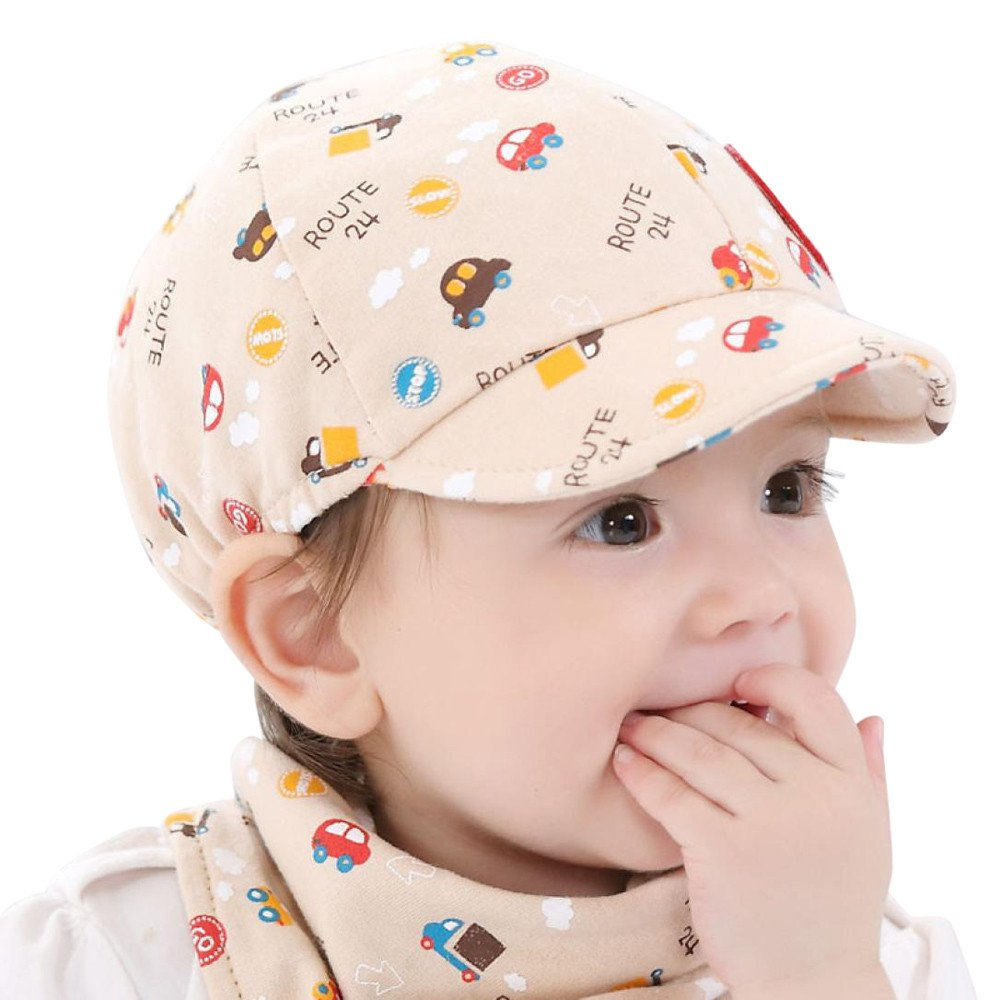 Gbell Toddler Boys Baseball Hat with Little Car Printed,Soft Baby Peaked Beret Cap for Boy Girl Infant Kids Age 0-3 Years Old
