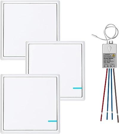 Lampe de plafond /à LED Installation rapide Kit ext/érieur 600 m 40 m TSSS Interrupteur sans fil avec r/écepteur LED Affichage de la lumi/ère