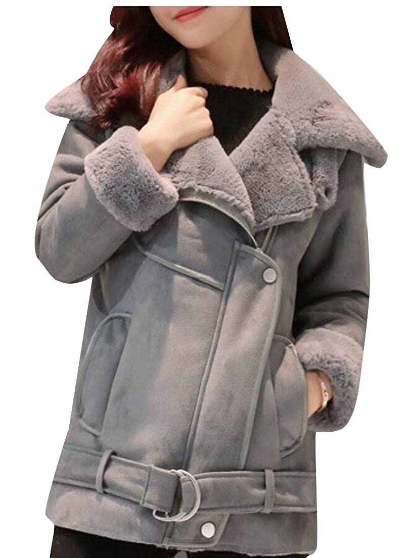 1 omniscient Women Zipper Up Casual Open Front Coat Outwear Faux Suede Jacket