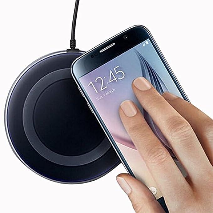 ACTECOM® Cargador INALAMBRICO Compatible con QI Negro para Samsung S6, S6 Edge, S6 Edge Plus, S6 Active