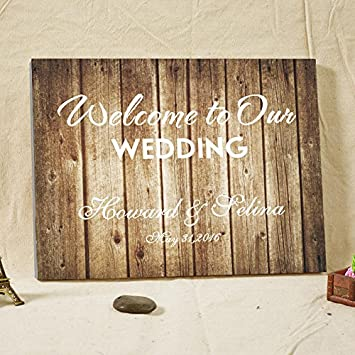Amazon welcome to our wedding personalized wedding decorations welcome to our wedding personalized wedding decorations rustic wood canvas wedding guest book wedding guest book junglespirit Gallery