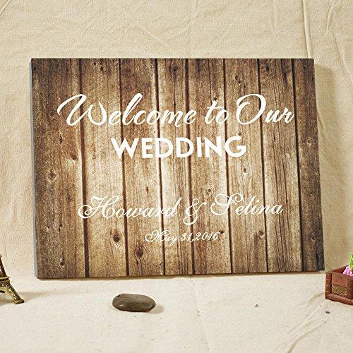 Hochzeit Gastebuch Personalisierte Rustikales Holz Leinwand