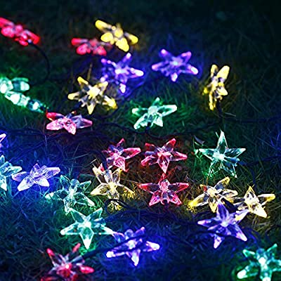 M&T TECH Solar Powered 30 LED Star String Lights For Outdoor Garden Patio Lawn Christmas Party Fence Window-Multi color