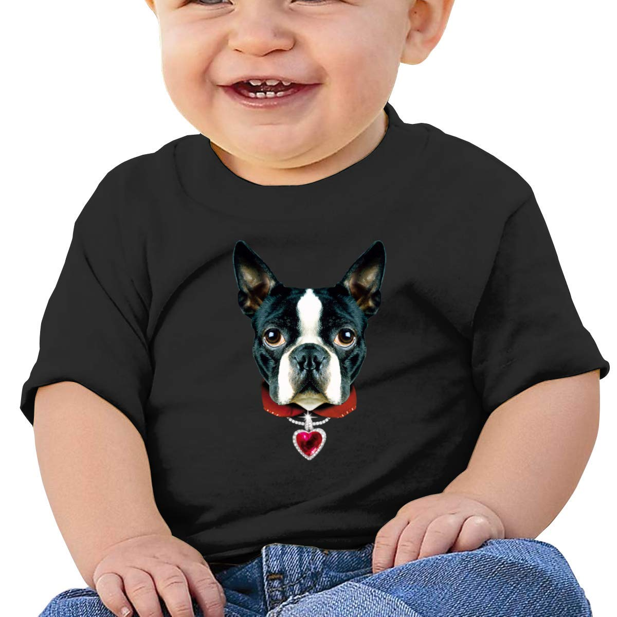 I Love Boston Cute Dog Short Sleeve Tshirts Baby Girls