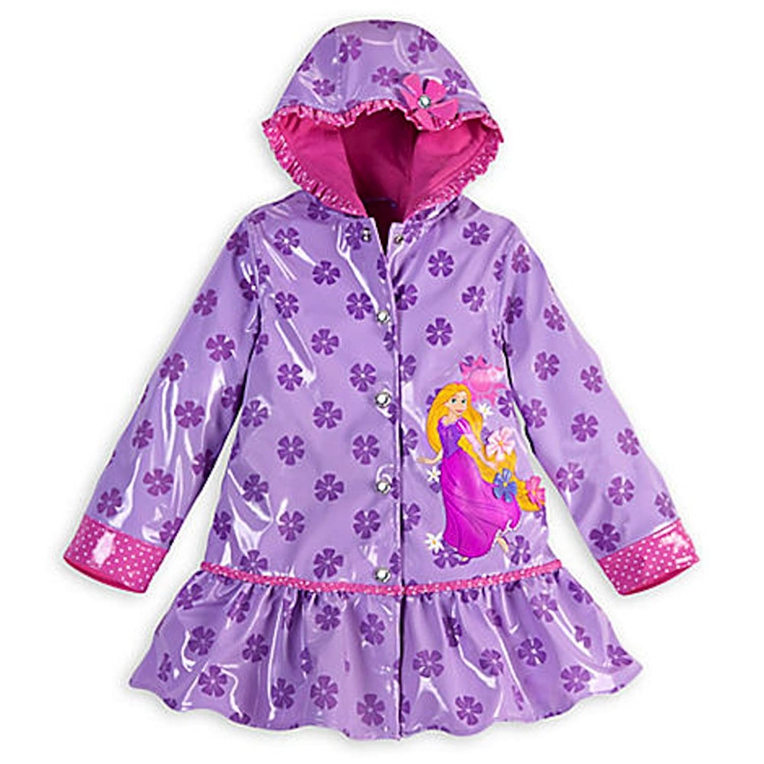 Amazon.com: Disney Store Rapunzel Tangled Rain Jacket for Girls ...