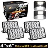 4PCS Partsam 4x6 LED Headlights Sealed Beam 6x4 Conversion Kit H4651 H4666 H4656 Compatible with Kenworth KW 900, Peterbilt 379, Ford Truck, Chevy K10 K20 Van RV Camper Headlamp Assembly