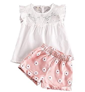 0d98f152e Baby Girls' Bowknot 2pcs Set Children Clothes Suit Top and Pants(FBA) (