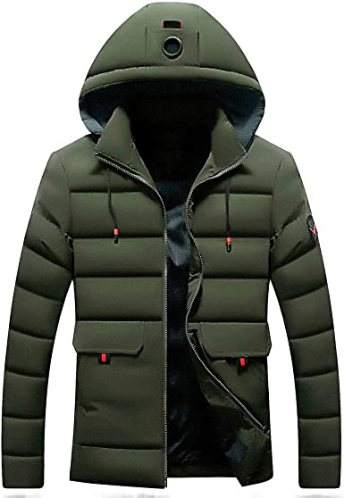 YYG Mens Hooded Plus Size Thicken Thermal Loose Quilted Jacket Coat Outerwear