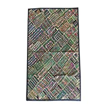 Mogul Green Wall Hanging Embroidered Patchwork Kutch Wall Hanging Festival Home Décor