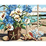 DIY Oil Painting, Paint by Number Kit for Home Wall Decor Art Gift, Window Vase