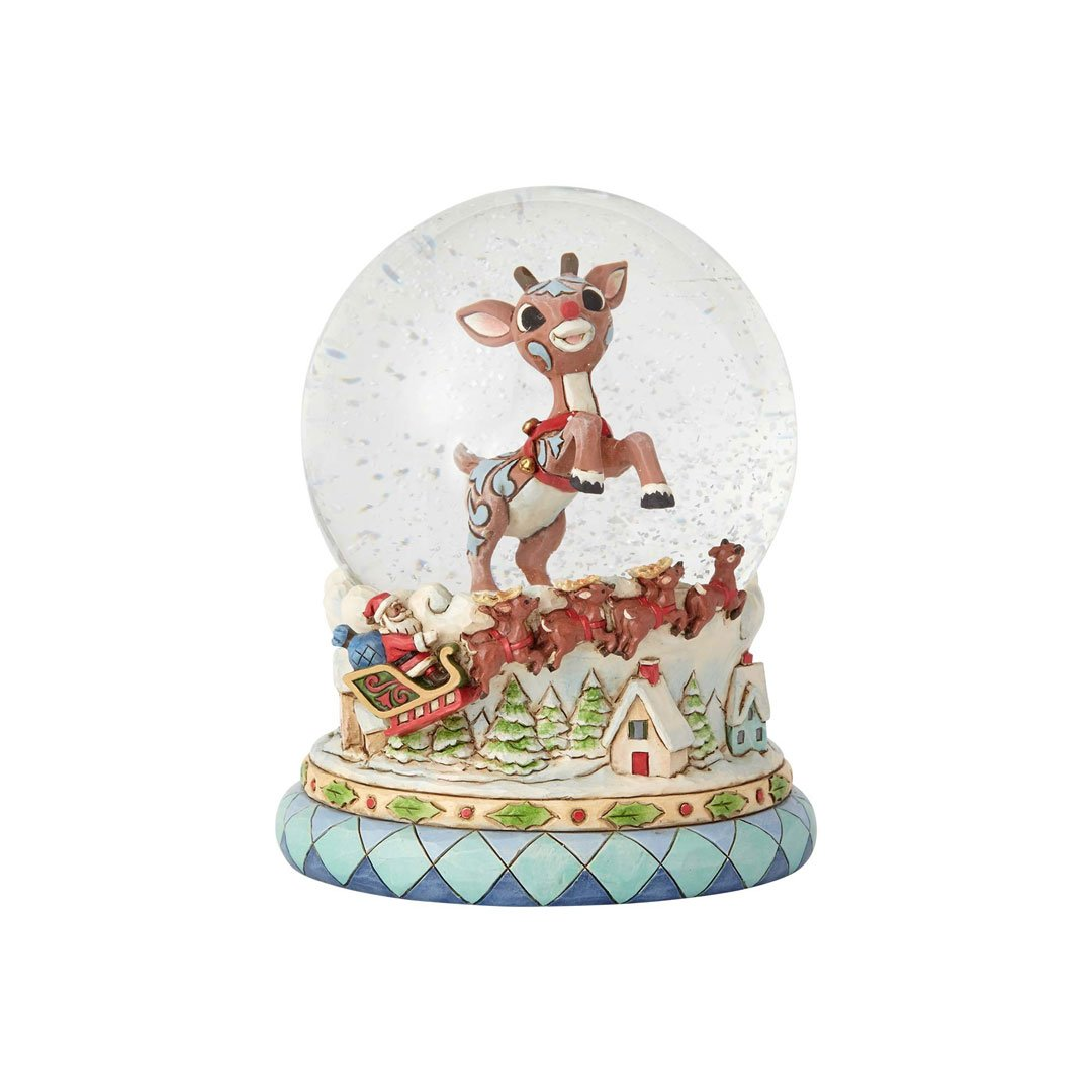 "Jim Shore ""Rudolph the Red-Nosed Reindeer"" Traditions, Rudolph and Santa Waterball, 5.5''"