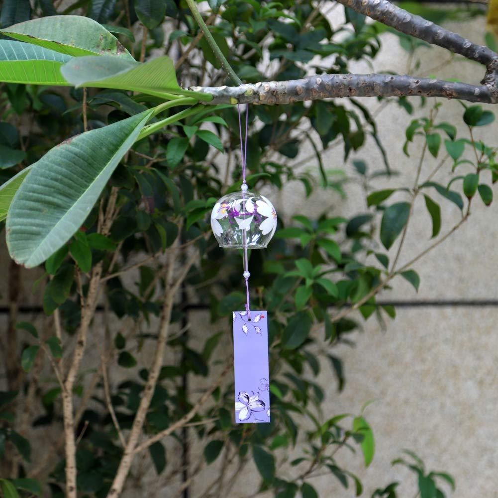 Qianren 日本製風鈴 手作り ガラス塗装 吊り下げ装飾 窓 部屋 桜 雪の結晶 パターン 7 x 8 CM QRE-HD2156-A4  Flower 4 B07KT3RVQ6