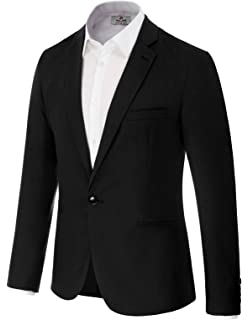 Fashion Mens Denim Slim Fit Suits Casual One Button Solid Blazer et,USLarge,DarkBlue