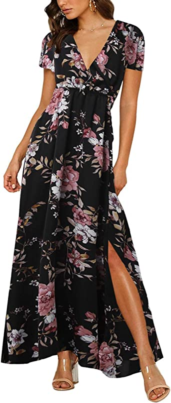Women Summer Split Maxi Dress Casual Short Sleeve Floral Print Loose Long Dresses Party Sundress with Pockets