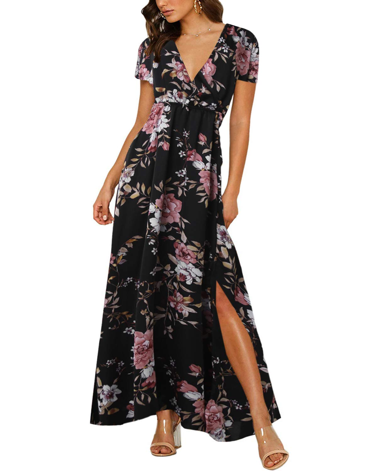 Beach Cocktail Dresses V Neck Dress Long Casual Womens women/'s Floral Loose Maxi