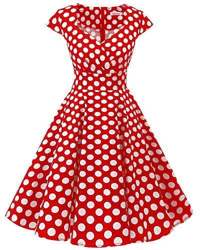 Bbonlinedress Women Short 1950s Retro Vintage Cocktail Party Swing Dresses Red White Big Dot S
