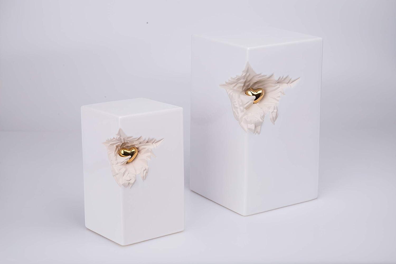 k/ünstlerische Urne f/ür Asche exklusive Urnen f/ür Asche Beerdigung wei/ß moderne Urne mit Mini-Herz Keramikurne in l/änglicher Form