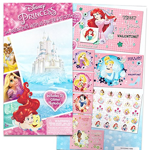 Disney Princess Valentines Day Cards Set (34 Disney Valentines Total (Assorted Styles) -- with Stickers and Glitter Tattoos)