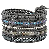 Chan Luu Tahitian Mix Wrap Bracelet on Dark Grey Leather