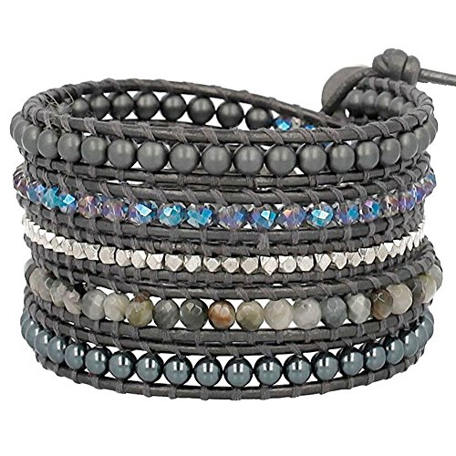 Chan Luu Tahitian Mix Wrap Bracelet on Dark Grey Leather by Chan Luu