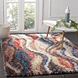 (US) Safavieh Gypsy Shag Collection GYP523C Rust and Blue Area Rug (5'1