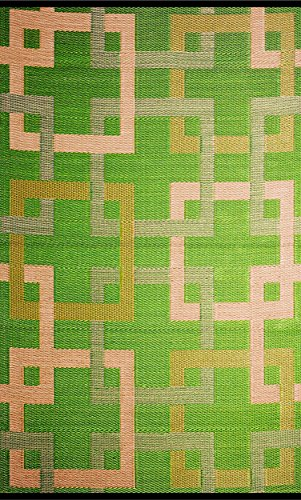 b.b.begonia Squares Geometric Contemporary Reversible Design 5′ x 8′ Green/Beige Rectangle Outdoor Rug Mat Polypropylene for Camping, Patio, Deck, Pool Area, Yard, Picnic