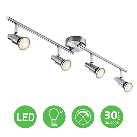 1-flammig LED Deckenlampe LED Deckenleuchte Spotbalken Schwenkbar inkl 3W GU10 230V IP20 Metall Warmwei/ß LED Deckenstrahler LED Deckenspot Energieklasse A+