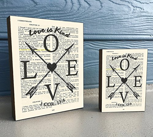 LOVE is Kind - 1 Corinthians 13:4 - Vintage Bible verse Scripture Art Print on Wooden Block, Christian Home & Wall Decor Sign, Arrows & Heart Dictionary Page, Housewarming -Christmas gift