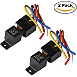 Ehdis [2 Pack] Car Truck Motor Heavy Duty Heavy Duty 5-Pin 80A 12V On/Off Normally Open SPDT Relay Socket Plug 5 Wire Automotive