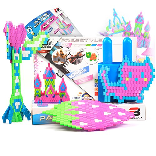 Freestyle Set (Pinblock Freestyle ''Pastel'' - Creative Smart Building Set for Boys and Girls with 1000 Interlocking and Rotating Blocks (200pcs each - Pink, Peach, Light Blue, Light Purple, Light Green))