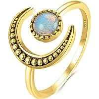 Vtops Anillo del círculo Lunar, Anillo de Piedra Lunar de Luna de Oro Amarillo Anillo de Cola de Mujer Estrella y Luna…