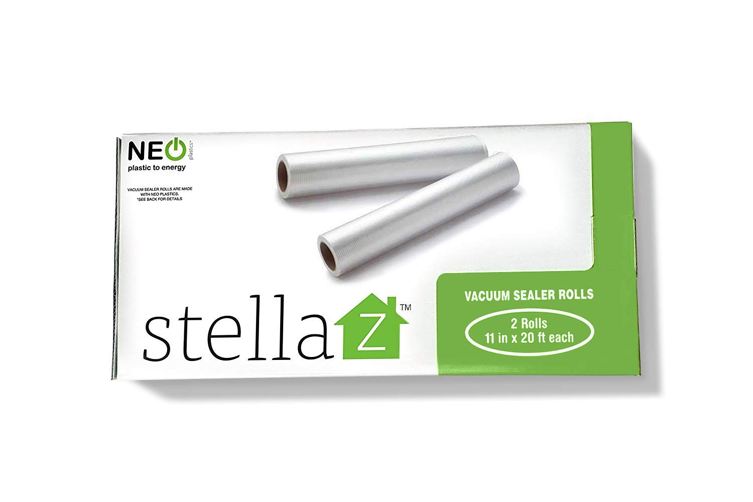 Stella Z Vacuum Sealer Rolls for Food Savers and Sous Vide 2 rolls 11 in x 20 ft each Commercial Grade Rolls with NEO Plastics.