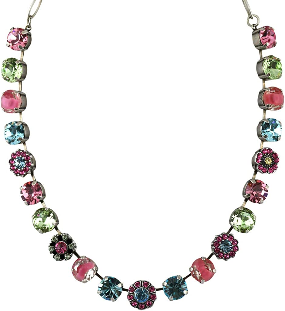 Mariana Jewelry Spring Flowers Necklace, Silver Plated with Crystal, Nature Collection MAR-N-3174 2141 SP