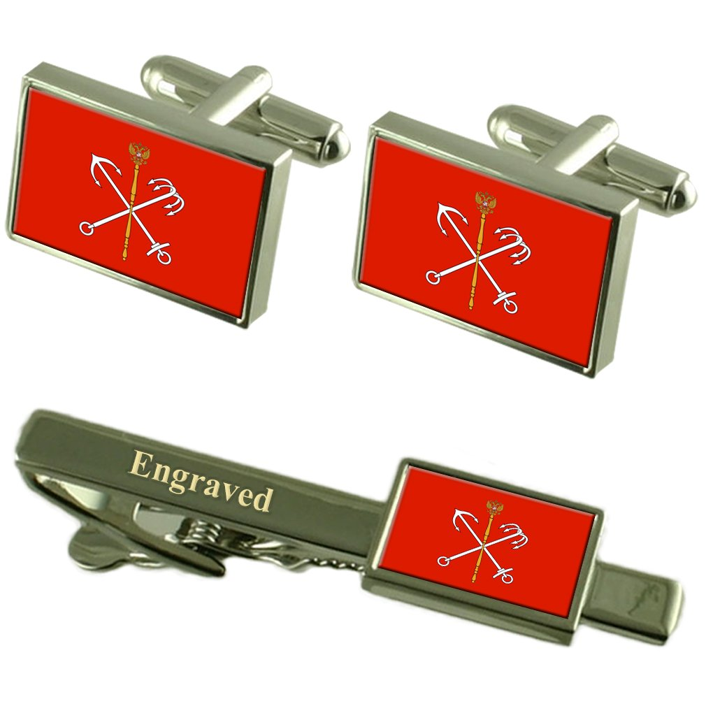 St Petersburg City Russia Flag Cufflinks Engraved Tie Clip Set