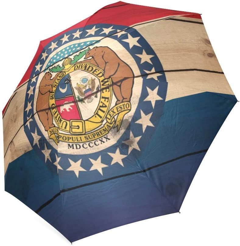 Friends Novelty Birthday Gifts Presents Custom Missouri State Flag Compact Foldable Rainproof Windproof Travel Umbrella
