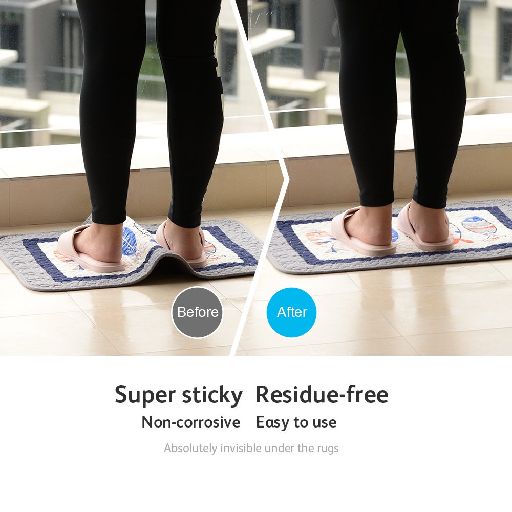 Rug Grippers Keeps Your Rug in Place Carpet Grips Flatten Corner Curling - Adorbay Carpet Corner Gripper Slip Grip Reusable Grippers 10 pcs (Black) by Adorbay (Image #3)