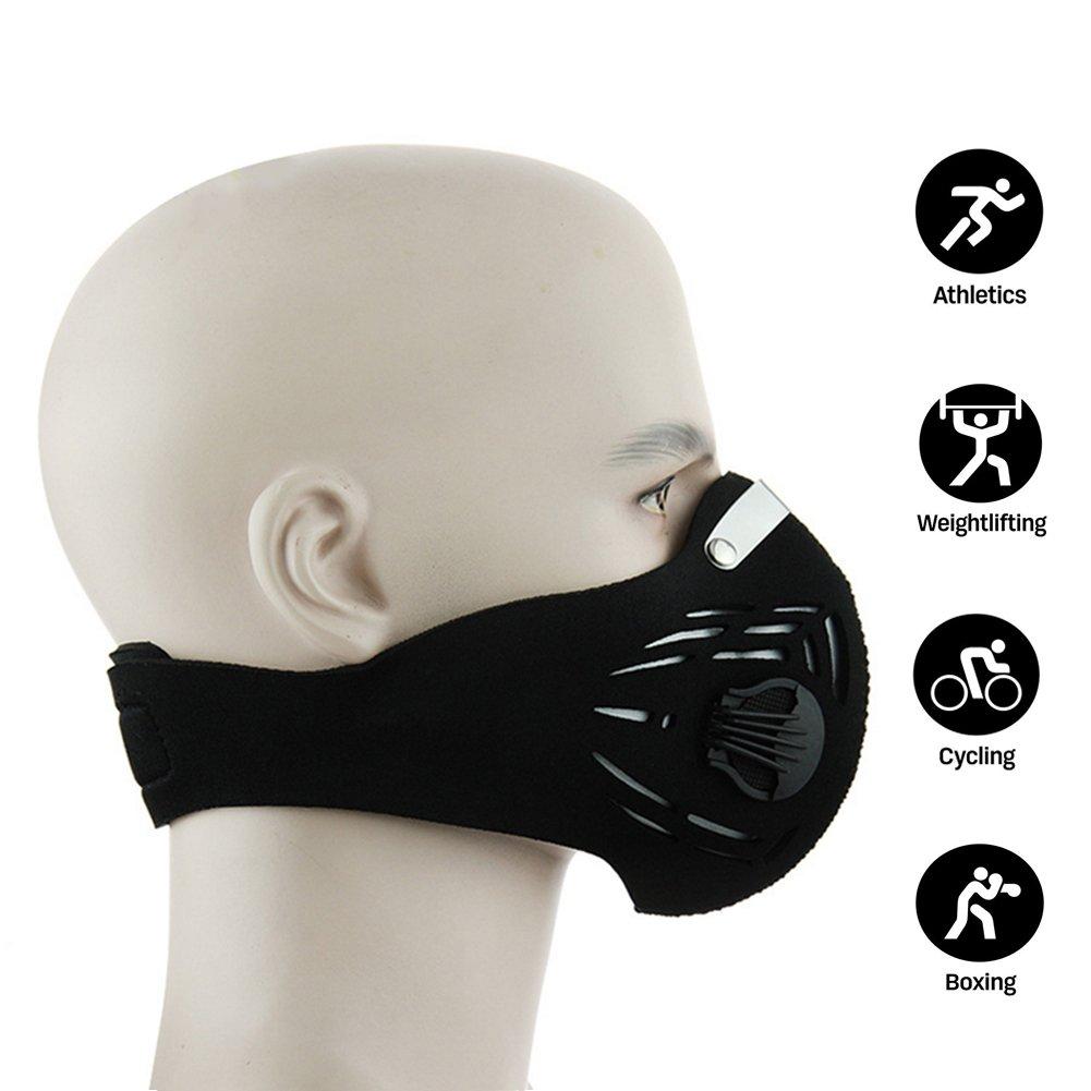 NEWTALL formazione di allenamento fitness maschera mma altitudine simulazione dustproof maschera carboni filtraggio dei gas di scarico anti - polline allergia pm2,5 maschera per correre in bicicletta, (Nero) 1-1