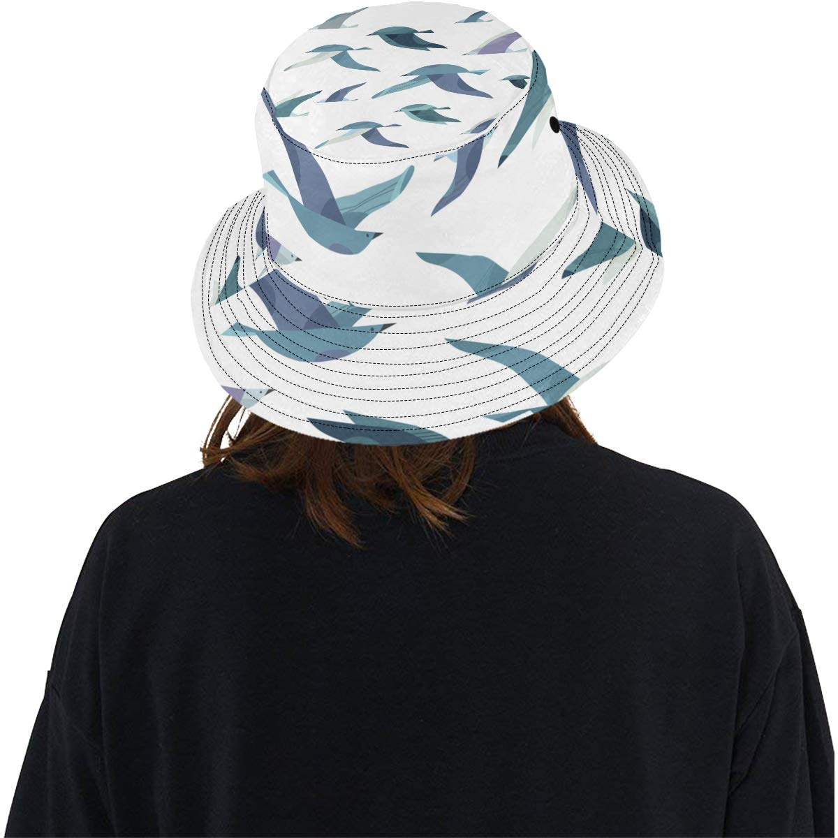Set Different Flying Birds Cute New Summer Unisex Cotton Fashion Fishing Sun Bucket Hats for Kid Teens Women and Men with Customize Top Packable Fisherman Cap for Outdoor Travel