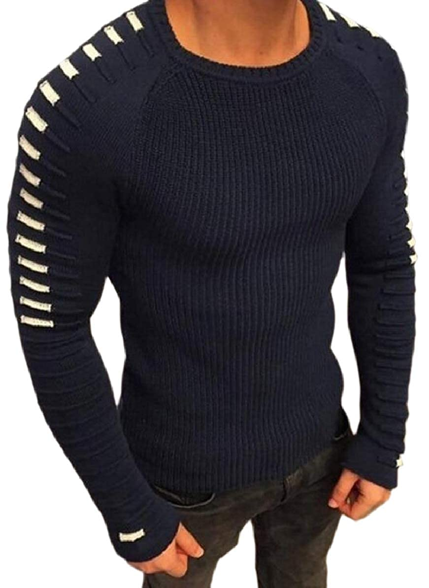 FLCH+YIGE Mens Stitching Warm Knitted Long-Sleeve Crew-Neck Gym Sweater Top