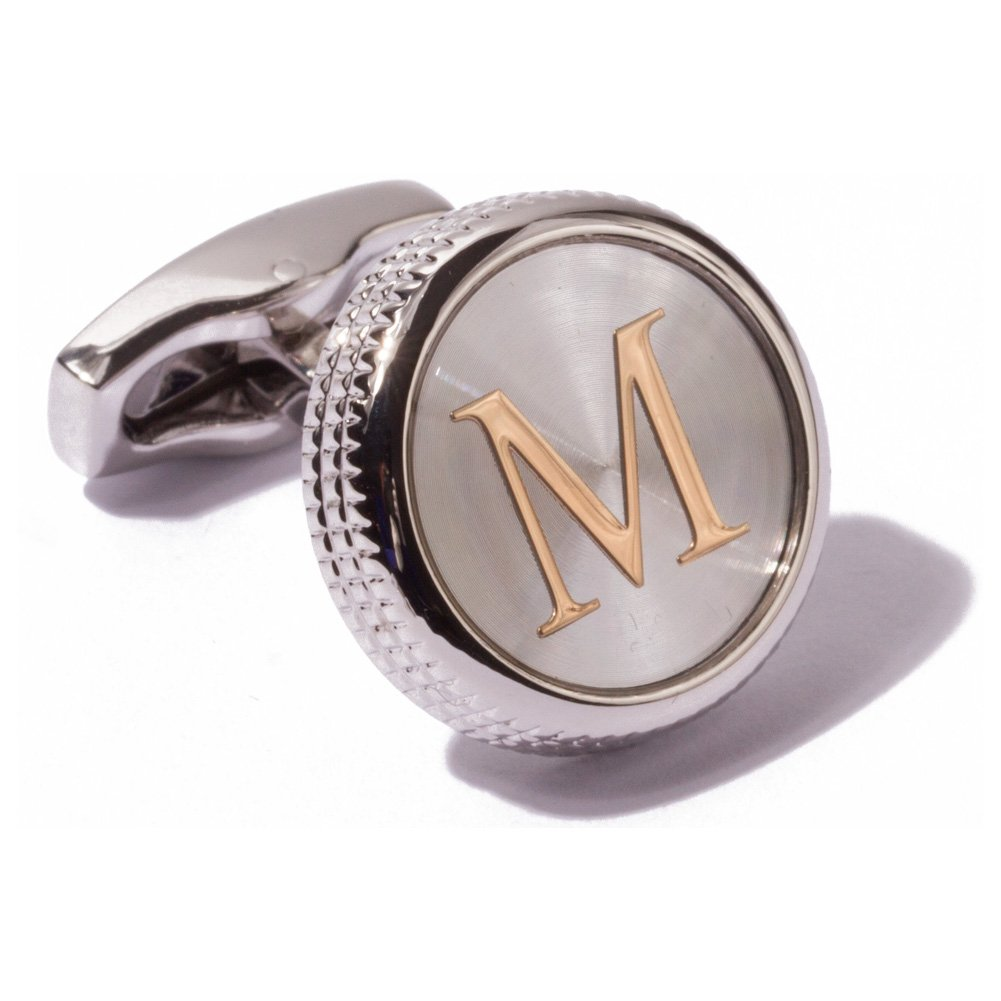 HJ Men's 2PCS Fashion Dazzle Tuxedo Shirts Platinum Plated Cufflinks Initial Letter 2 Color A-Z (silver M)