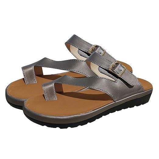 Sandalias Mujer Verano 2019 Plataformas EUZeo Sandals Correctoras Juanetes Moda Zapatos Tacon Cuña 3.5CM Casual Chanclas Playa Fiesta Hawaianas Zapatillas ...