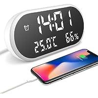 IKEAN Réveil Enfant avec Trois Alarmes, Réveil Digital Numérique UBS Connecté Au Smartphone, avec Lumière Auto-Réglable, Grand LED Chiffres Afficher Heure Température D'humidité