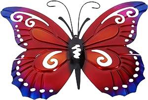 YARDWE Red Metal Butterfly Wall 3D Art Sculpture Hangings for Outdoor Back Yard Garden Fence Patio or Indoor Living Room Bedroom Bathroom Hallway Decor
