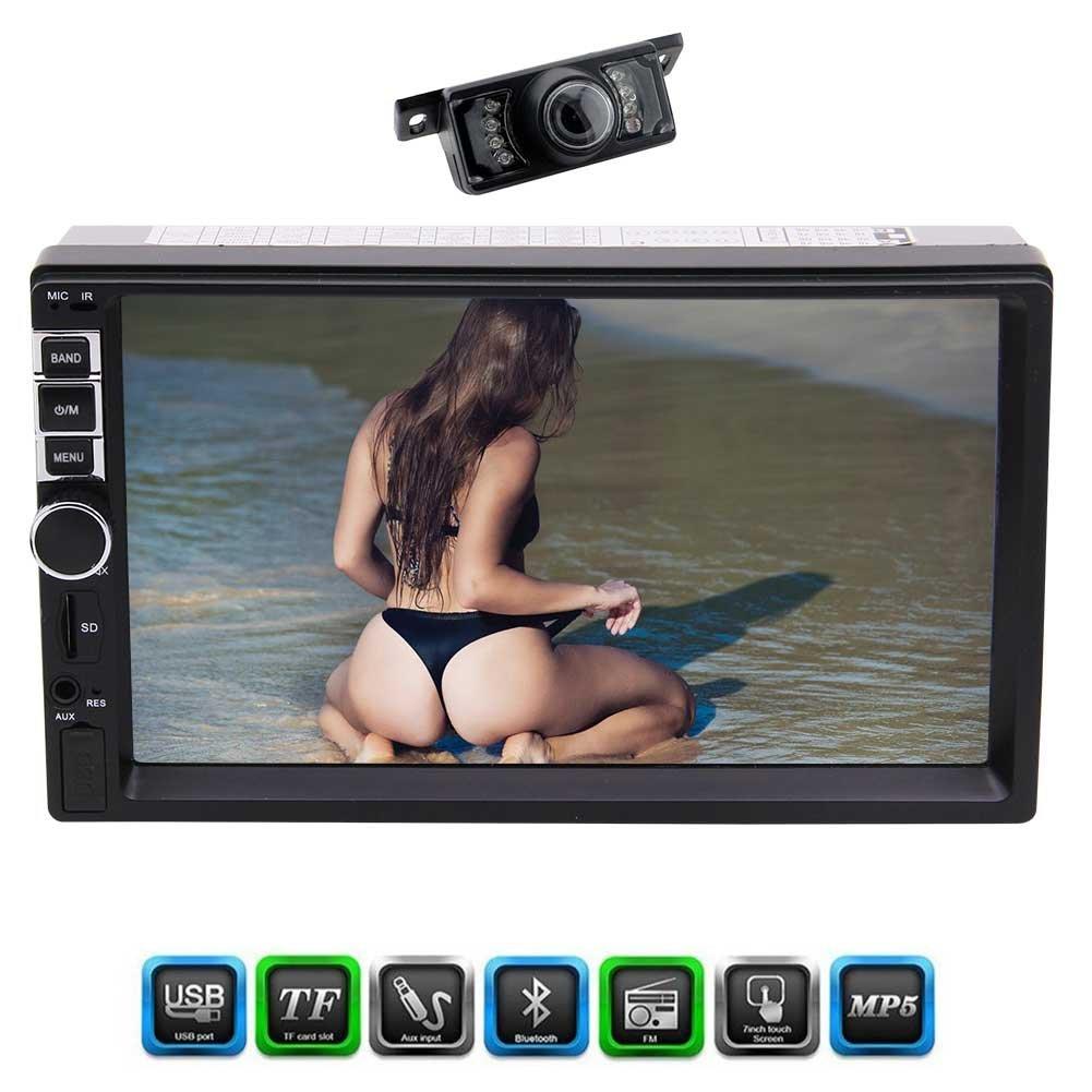 Rear Camera included Eincar Car Radio 7 inch Univerisal HD Digital Screen Multimedia Entertainment In Dash Head unit Support Bluetooth/USB/TF/FM/AUX input/Wireless Remote
