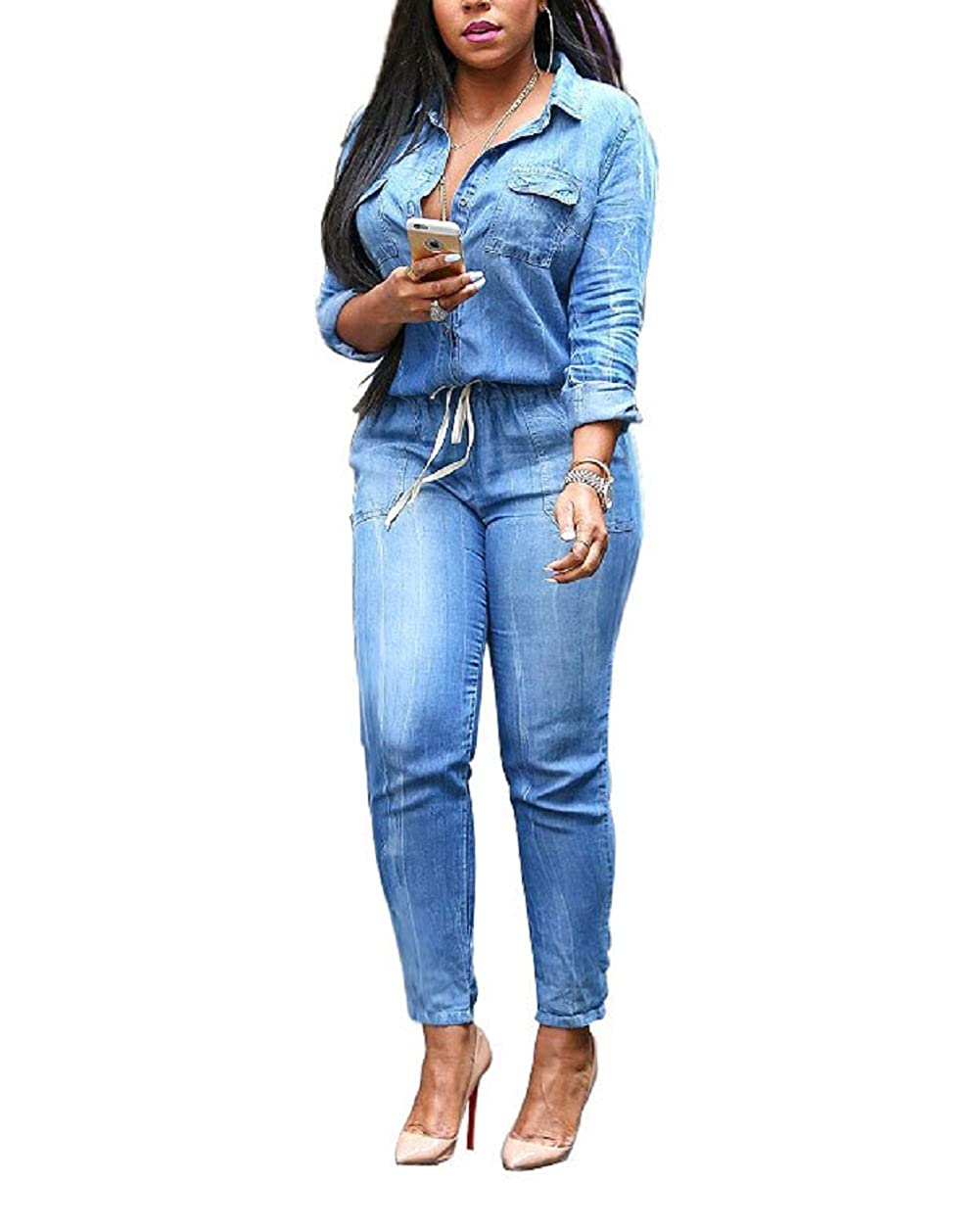 e5d77f7540f Amazon.com  Evalent Women s Plus Size Denim V Neck Long Sleeve Belted Jeans  Jumpsuits Pants Elastic Waist Romper  Clothing