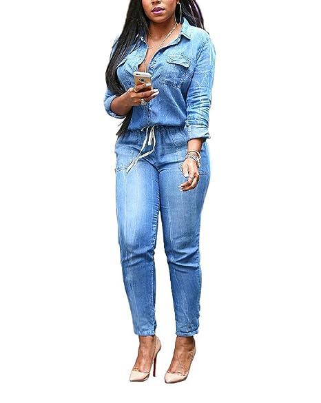 526e5c9daad Evalent Women s Plus Size Denim V Neck Long Sleeve Belted Jeans Jumpsuits  Pants Elastic Waist Romper
